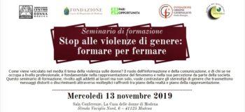 Stop alle violenze di genere: formare per fermare